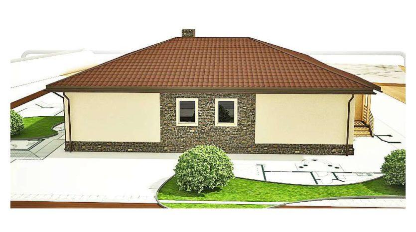 Проект дома из газоблоков ДП-ГБ-006 в проект одноэтажного дома из газобетонных блоков. Отделка в штукатурка