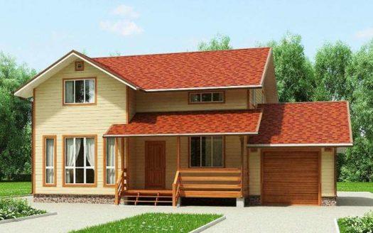 Проект каркасного дома 8 на 9 с гаражом Богородск