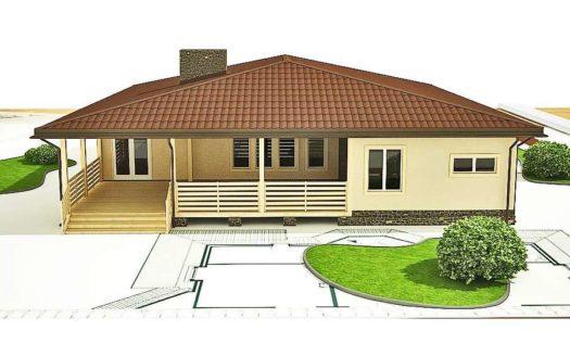Одноэтажный проект дома из газобетона