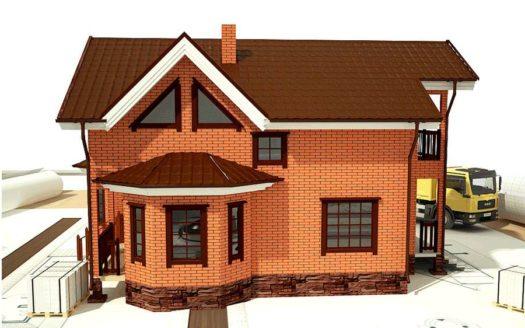 Проект кирпичного дома с эркером Невельск