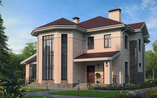 Проект двухэтажного кирпичногог дома