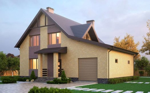 Проект дома с гаражом из кирпича