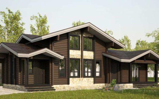 Проект дома с сауной из двойного бруса