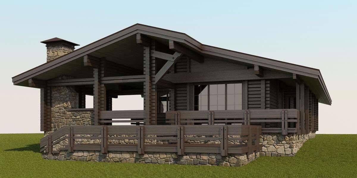 построить одноэтажный дом из бруса проекты фото