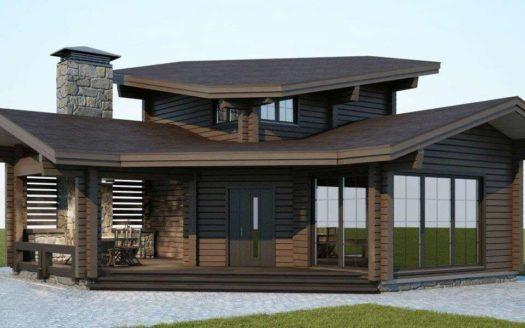 Проект гостевой бани-дома из двойного бруса