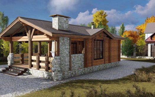 Проект деревянной бани с террасой и барбекю