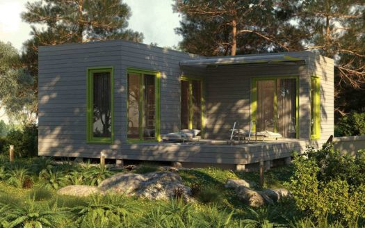 Проект одноэтажного каркасного домика с террасой
