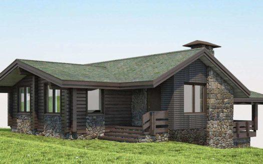 Проект одноэтажного дома с барбекю из бруса