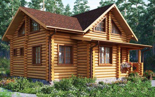 Проект бревенчатого дома со вторым светом и баней