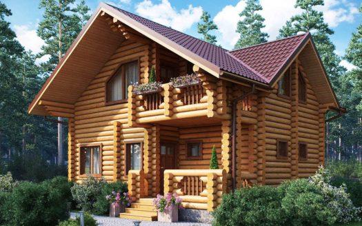 Проект бревенчатого дома с сауной