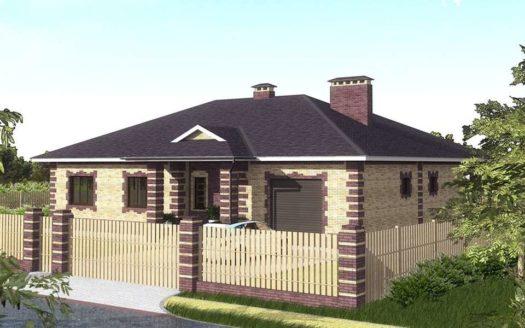 Проект кирпичного одноэтажного дома с гаражом