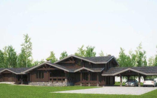 Проект дома стиль шале из двойного бруса с гаражом Саратов