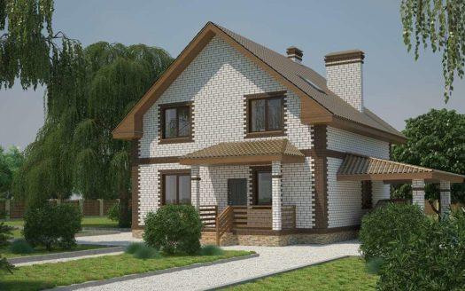 Проект небольшого кирпичного дома с гаражом и сауной