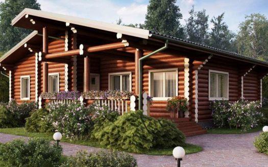 Проект одноэтажного бревечатого дома