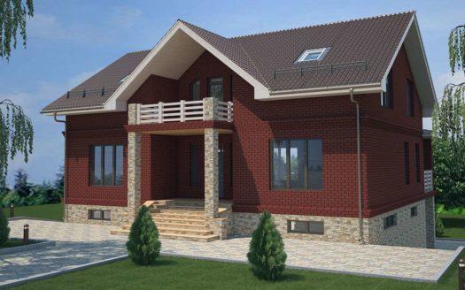 Кирпичный проект дома на склоне