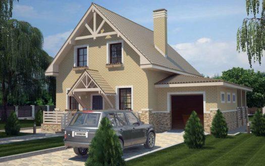 Проект дома из газоблоков с террасой и гаражом