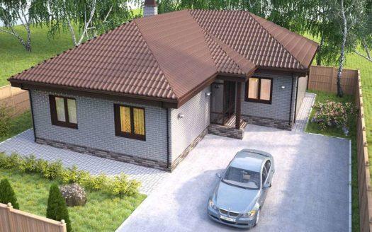 Проект одноэтажного кирпичного дома Атлеш