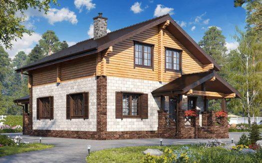 Комбинированный проект дома с террасой