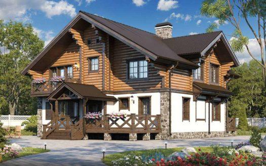 Проект дома в стиле шале Якшур с балконом