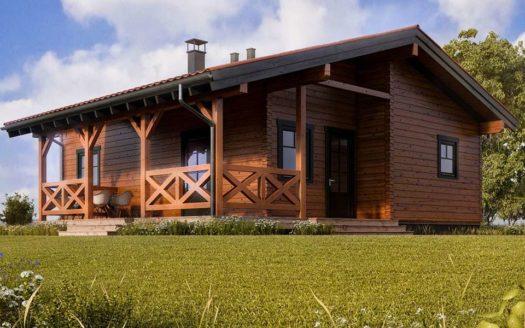 Проект одноэтажного дома из бруса с террасой