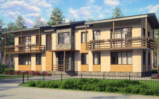 Проект узкого дома на две семьи