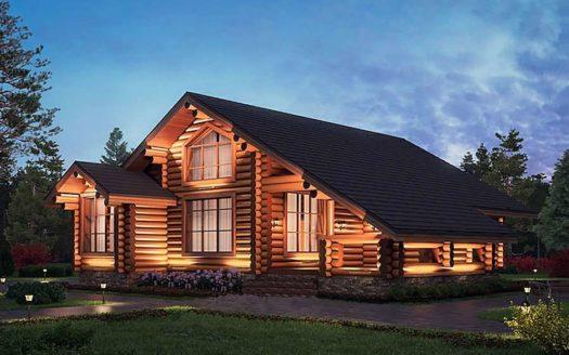 Проект красивого дома из бревна
