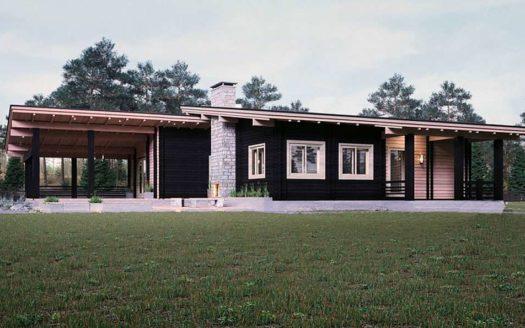 Дом из двойного бруса с барбекю под проект Томск