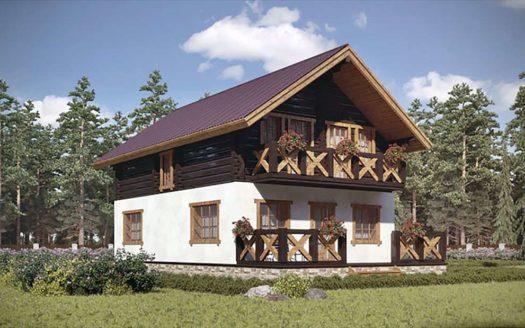 Проект дома шале из клееного бруса