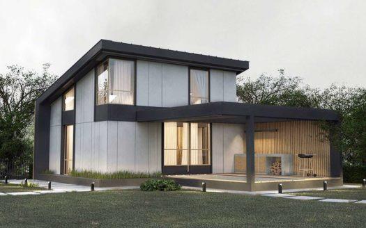 Проект дома хай-тек с плоской крышей