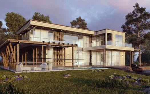 Проект современного дома из клееного бруса