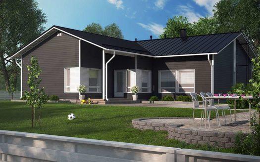 Проект одноэтажного Г-образного финского дома