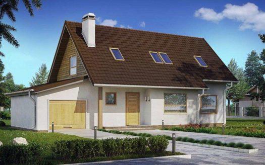 Проект узкого дома с гаражом