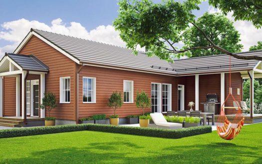 Проект углового дома с баней