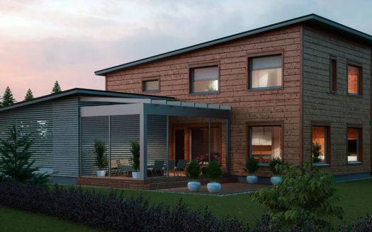 проект Г-образного двухэтажного дома