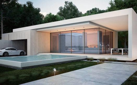 Дом в стиле хай-тек с бассейном