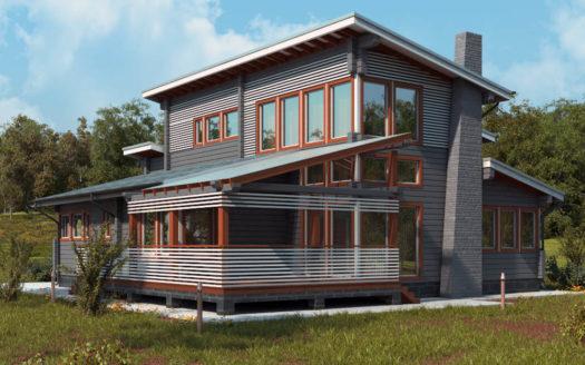 Проект дома из бруса в современном стиле