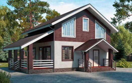 проект комбинированного дома из пеноблоков и дерева