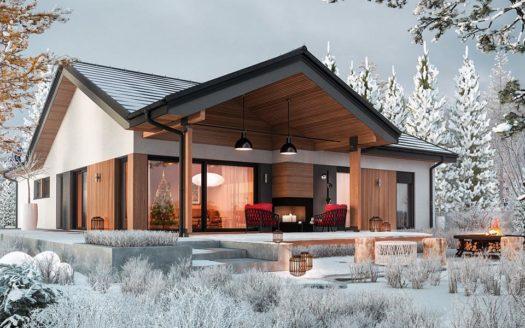 проект одноэтажного дома из пеноблоков до 150