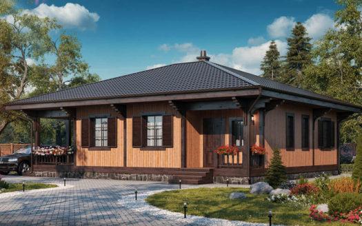 Одноэтажный проект СИП дома на 100