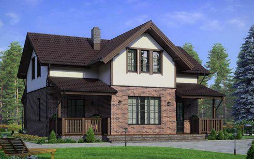 комбинированный дом кирпич и штукатурка