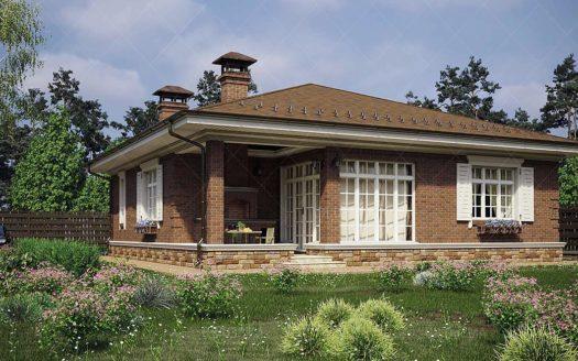 проект одноэтажного кирпичного дома до 150