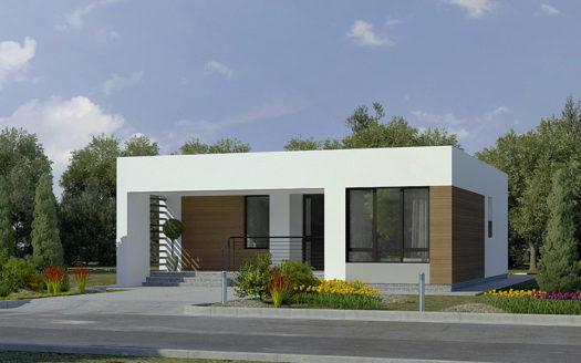 Проект современного одноэтажного дома с плоской крышей Ургал 1