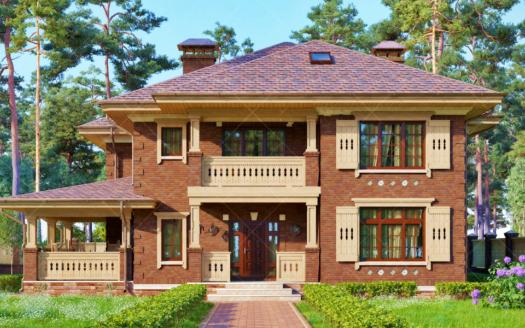 Проект двухэтажного дома с камином Урзуф
